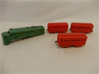 GROUPING OF 4 RAILWAY ENGINE & 3 CARS- PLASTIC
