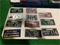 Lot of 13 antique auto plates