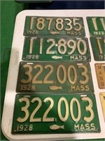 Lot of 24 Early Massacchusetts License Plates