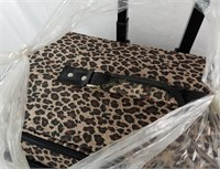 Leopard Print Rolling Bag Small Suitcase