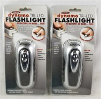 2 New Lentek Dynamo Tri-Led Flashlights
