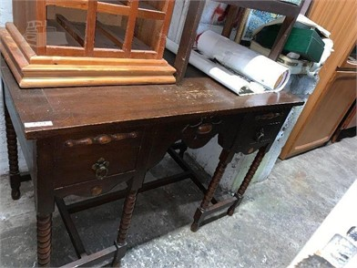 A TUDOR STYLE KNEE HOLE DESK IN OAK Other Items For Sale - 1