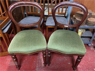 A PAIR OF BALLOON BACK VICTORIAN STYLE CHAIRS Other Items ...