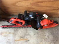 Two B&D Electric Hedge Trimmers And One