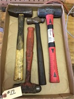 Box with 4 Hammers - 2 Sledge, 2 Ball Pien