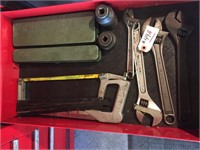 Drawer - 4 Adjustable Wrenches, Hack Saw With