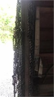 Tire chains hanging on garage door entry