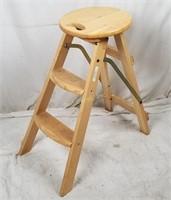 Folding Wood Stool Step Ladder