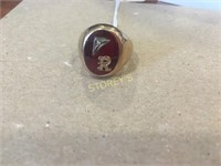 10kt Yellow Gold Men's Ring w/ Synthetic Oval Ruby