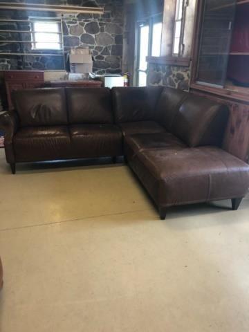 Design Bank Natuzzi.Natuzzi Leather L Shaped Sectional Sofa John M Hess Auction Service