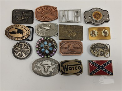 Collection Of 27 Vintage Belt Buckles Other Items For Sale