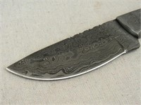 Unmarked Damascus Steel Hunting Knife-
