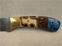 Damascus Steel Hunting Knife w/ Sheath-