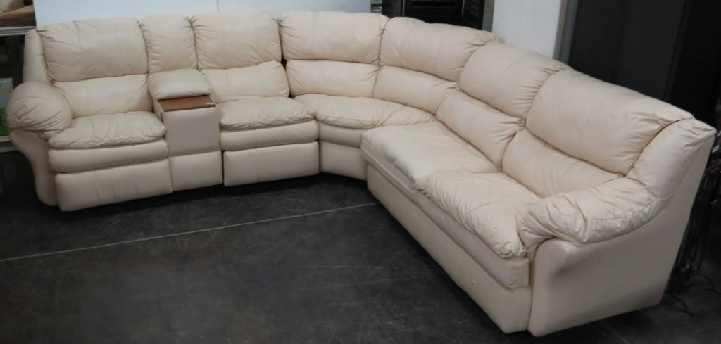 Leather 3pc Sectional Double Recliner