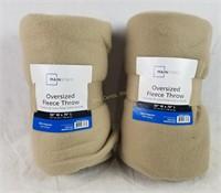 2 New Mainstays Oversized Fleece Throws