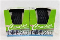 """2 New 26"""" Bell Cruisin White Wall Tires"""