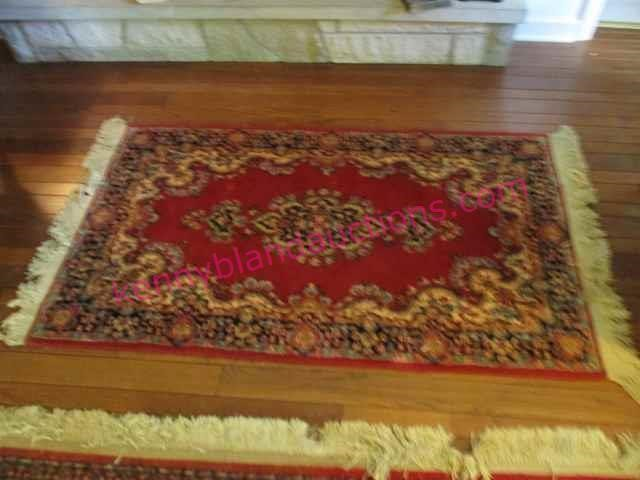 Vintage Red Wool Throw Rug 3ft X 5ft