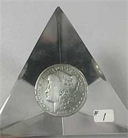 1891-O  Morgan Dollar in acrylic display