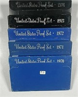 1970, 1971, 1972, 1973 & 1974  US. Mint Proof sets
