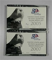 2006 & 2007  US. Mint Silver Quarter sets  Proof