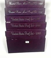 1985, 1986, 1987, 1988 & 1989  US. Mint Proof sets