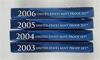 2003, 2004, 2005, & 2006  US. Mint Proof sets