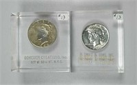 1923 & 1924  Peace Dollars in acrylic