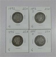 1892, 1892-O, 1895 & 1895-O  Barber Quarters  G