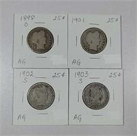 1898-O, 1901, 1902-S & 1903-S  Barber Quarters  AG