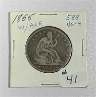 1855 w/arrows  Seated Liberty Half Dollar  VG-8