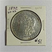1892  Morgan Dollar  XF-45