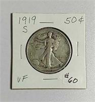 1919-S  Walking Liberty Half Dollar  VF