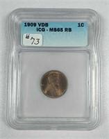 1909-VDB  Lincoln Cent  ICG MS-65 RB