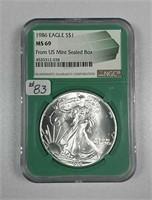 1986  $1 Silver Eagle  NGC MS-69