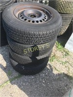 4 Rimmed Tires - P195/70R14 - as is