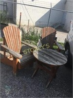 2 Wood Chairs & Side Table