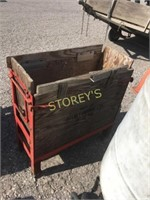 Mobile Wood Storage Bin - 33 x 14 x 36 - as is