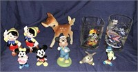 Disney Figurines And Drinking Glasses
