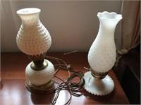 (2) HOBNAIL MILK GLASS ELECTRIC LAMPS