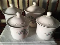 (4) GRAPE KITCHEN CANISTER SET