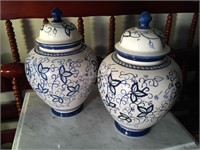 (2) BLUE & WHITE CANISTER WITH LIDS
