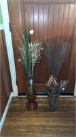 Glass Vases And Artificial Plants