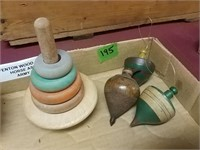 Army Level, Wood Spinners, Horse Ashtray, Brass