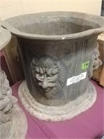 """Cast Iron Urn With Lions Head 14"""" Diameter, 12"""""""