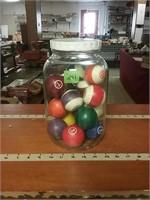 Glass Gallon Jar With Pool Balls