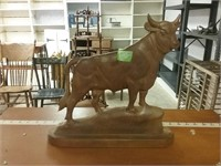 13 Inch Carved Wood Bull