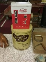 2 Tins Coca Cola Charles Chips