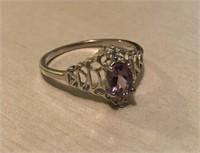 Silver (925) Purple Amethyst Gemstone Ring