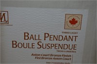 3-Light Ball Pendant Bronze Finish