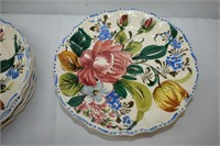 Italy Hand painted Serving Tray & (7) Plates